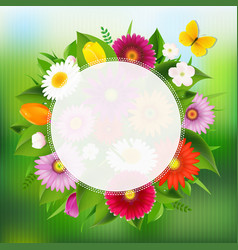 Summer poster with flowers vector