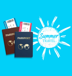 summer travel background with sketch sun vector image