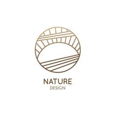 sun and sea logo round icon sea vector image
