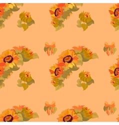 Sunflower garland and bow seamless pattern on vector