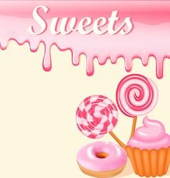 Sweet dessert food frame background vector image