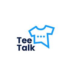 tee talk t shirt chat bubble social logo icon vector image