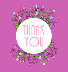 thank you cards with beautiful sweet pea flowers vector image