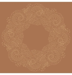 Traditional circle oriental floral ornament vector