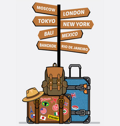 Travel luggages with sign vector