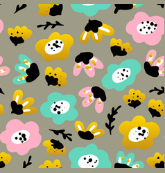 Trendy flowers seamless pattern vector