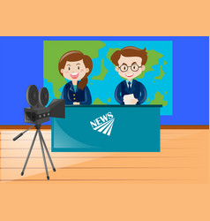 two news reporters working at the studio vector image
