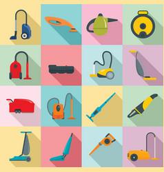 Vacuum cleaner washing icons set flat style vector