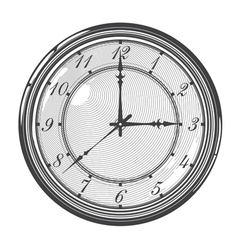 Vintage clock or watch in engraved style vector image