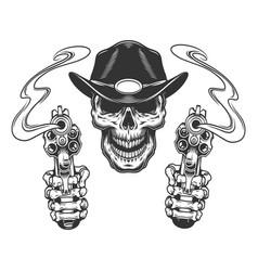 Vintage monochrome sheriff skull vector