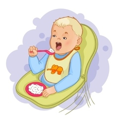 Baby boy eats pap sitting in the baby chair vector image vector image