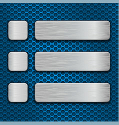 blue metal perforated texture with rectangle and vector image