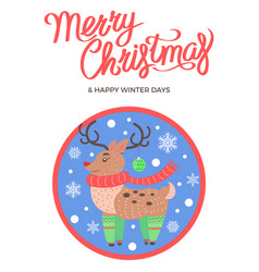 merry christmas and happy winter days deer socks vector image vector image