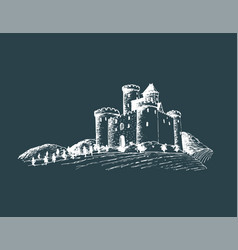 old castle gothic fortress vector image vector image