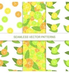 Set of seamless citrus pattern Lemon pattern vector image