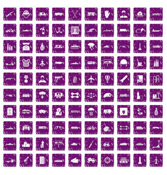 100 burden icons set grunge purple vector image vector image