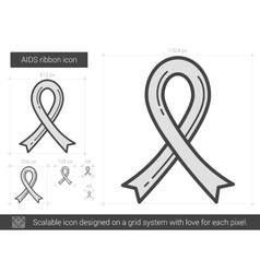 Aids ribbon line icon vector