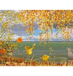 autumn landscape river in fall of the leaves vector image vector image