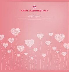 happy valentines day with white hand drawn hearts vector image