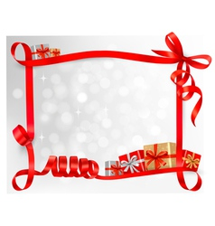 Holiday background with red gift bow with gift vector image