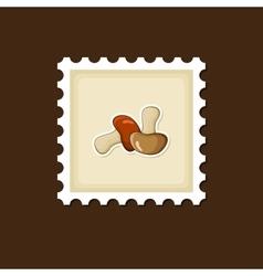 Mushroom stamp Harvest Thanksgiving vector image vector image