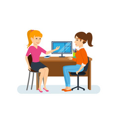 discussing working project sitting at computer vector image