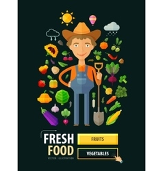 Fresh food logo design template gardening vector
