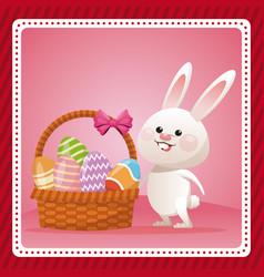 happy easter bunny egg decorative celebration vector image vector image