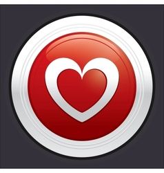 Heart button red round love sticker vector image vector image
