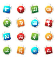 machine tool icons set vector image