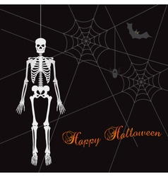 scary happy halloween with white skeleton eps10 vector image