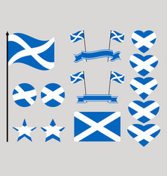Scotland flag set collection of symbols heart vector