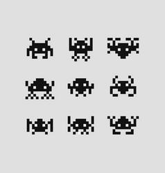 space invaders 8 bit set vector image