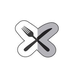 sticker silhouette knife and fork icon vector image vector image