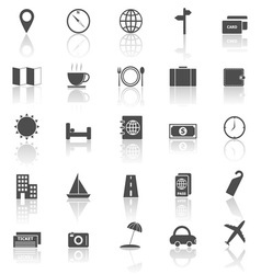Travel icons with reflect on white background vector