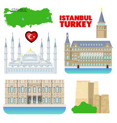 turkey istanbul travel set with architecture vector image vector image