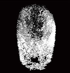white fingerprint shape on black background vector image