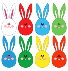Eight easter rabbit faces vector