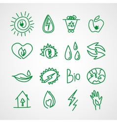 Hand drawn ecology icons doodles vector image