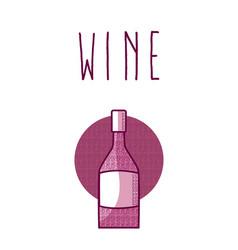 Wine bottle round icon vector