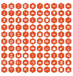 100 restaurant icons hexagon orange vector