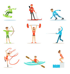 Adult people practicing different olympic sports vector