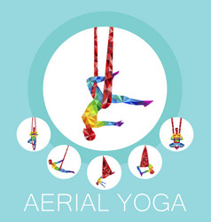 aerial yoga banner with woman silhouette vector image