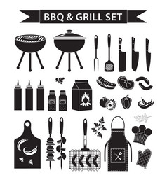 Barbecue and grill icons set black silhouette vector
