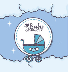 Bashower blue pram clouds sticker vector