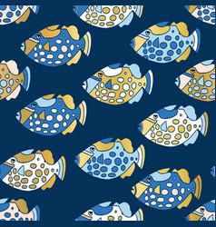 Blue and gold clown trigger fish seamless vector