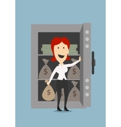 Businesswoman opens a safe with money vector