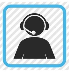 Call center operator icon in a frame vector