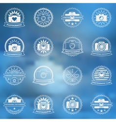 Camera icons or labels set vector image