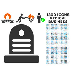 cemetery stone icon with 1300 medical business vector image